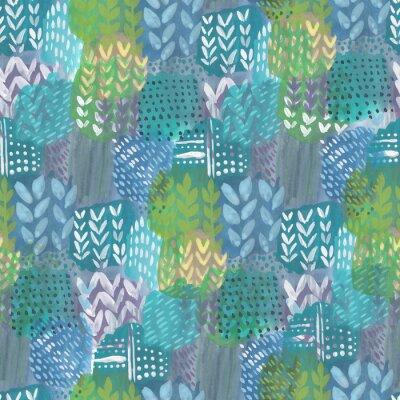 Tapeta Abstrakcyjny wydruk z losowymi elementami i liśćmi akwareli. Egzotyczny wzór w dziecięcym stylu. R? Cznie rysowane ilustracji