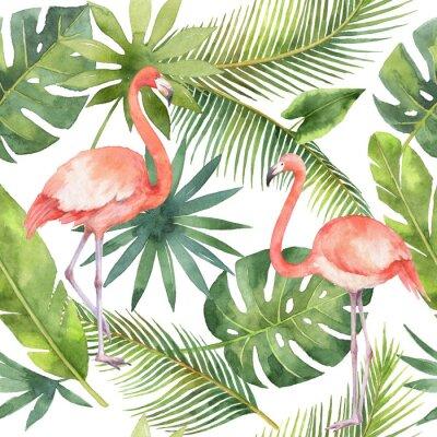 Tapeta Akwarela bez szwu deseń Flamingo i Palma samodzielnie na białym tle.