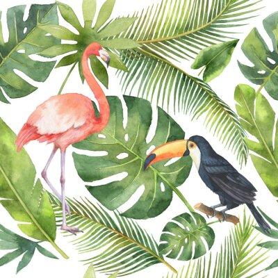 Tapeta Akwarela bez szwu deseń kokosa i palmy samodzielnie na białym tle.