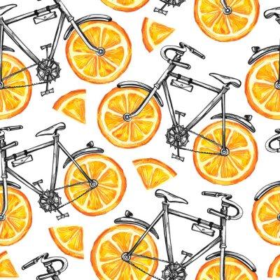 Tapeta Akwarela bez szwu deseń rowerów z pomarańczowymi kół. Kolorowe tło lato.