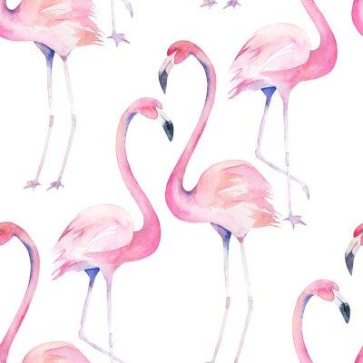 Tapeta Akwarela bez szwu deseń z egzotycznych Flamingo. Wydruk dekoracji letniej na opakowanie, tapeta, tkanina. R? Cznie rysowane ilustracji