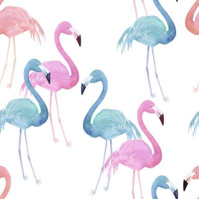 Tapeta Akwarela bez szwu deseń z flamingo. R? Cznie rysowane ilustracji