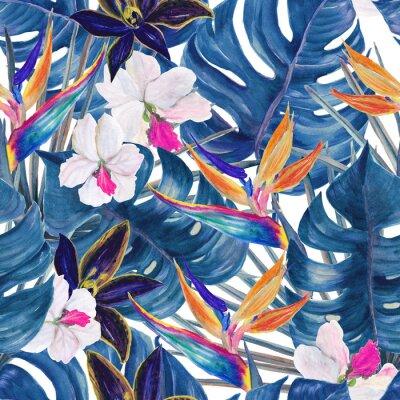 Tapeta Akwarela bez szwu tropikalny wzór egzotycznych roślin. Liście palmowe i deliciosa. Orchidea i ptaka rajskich kwiatów