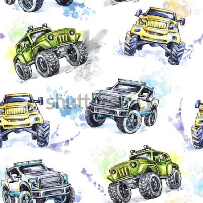 Tapeta Akwarela bezszwowe wzór Cartoon Monster Trucks. Kolorowe tło sportów ekstremalnych. 4x4. SUV pojazdu terenowego. Styl życia. Hobby człowieka.