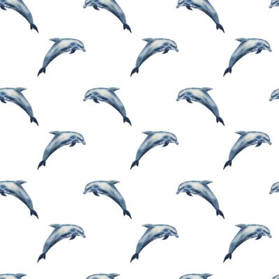 Tapeta Akwarela bezszwowe wzór delfiny