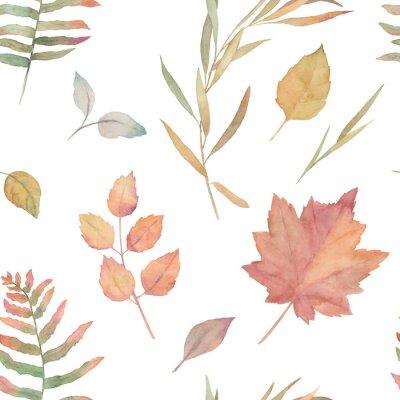 Tapeta Akwarela bezszwowe wzór dla batika, tkaniny, tkaniny. Wzór w kwiaty. Jesienne liście. Ręcznie rysowane ilustracja