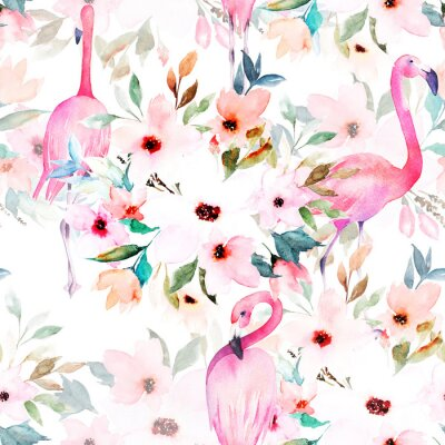 Tapeta Akwarela bezszwowe wzór. Kwiatowy nadruk z flamingo.