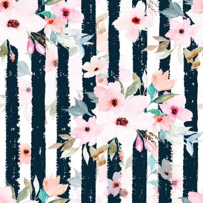 Tapeta Akwarela bezszwowe wzór na paski tle. Wzór w kwiaty