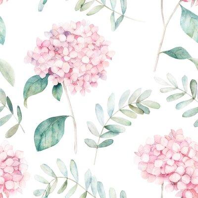 Tapeta Akwarela bezszwowe wzór. Vintage druk z kwiatami hortensji i gałęziami eukaliptusa. Ręcznie rysowane ilustracja