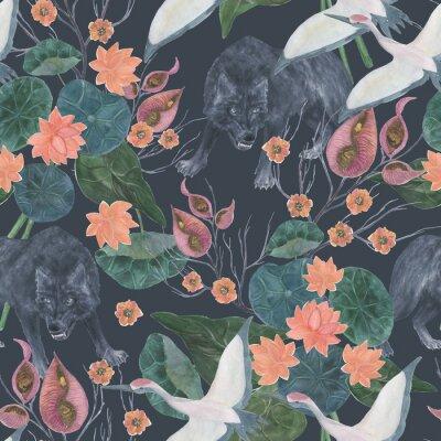 Tapeta Akwarela bezszwowe wzór z szarego wilka i żurawia, ilustracja Azji