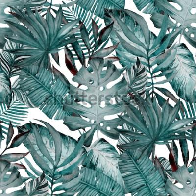 Tapeta Akwarela bezszwowe wzór z tropikalnych liści: palmy, monstera, marakuja. Piękny nadruk z ręcznie rysowanymi egzotycznymi roślinami. Stroje kąpielowe z motywem botanicznym.