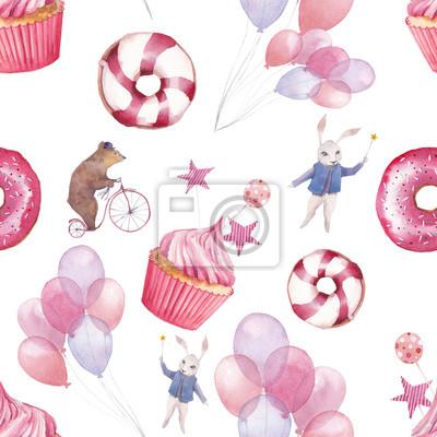 Tapeta Akwarela cyrk szwu. Tapeta z balonami partia powietrza, pączki, babeczki i zwierząt fantazji kreskówek na białym tle. Ręcznie rysowane rocznika tekstury.