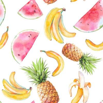 Tapeta Akwarela egzotycznych owoców wzór. Ręcznie rysowane tekstury z bananów, ananasa i arbuza na białym tle. Letni wzór tapety