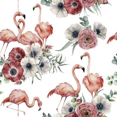 Tapeta Akwarela flaming z ranunculus i anemonowym bezszwowym wzorem. Ręcznie malowane egzotyczne ptaki z liści eukaliptusa na białym tle. Ilustracja przyrody dla projektu lub tła.