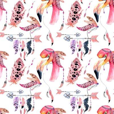 Tapeta Akwarela Flamingo bez szwu deseń samodzielnie na białym tle