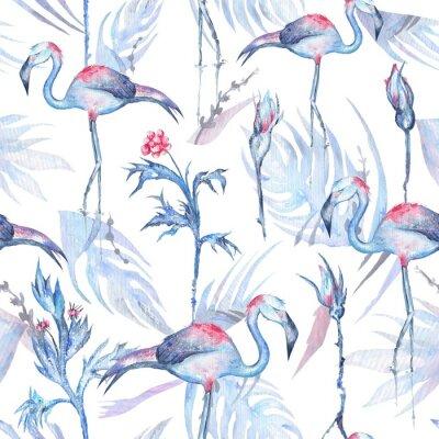 Tapeta Akwarela Flamingo Wzorzec