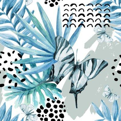Tapeta Akwarela graficzny ilustracji: egzotyczny motyl, liści tropikalnych, elementów doodle na tle grunge.