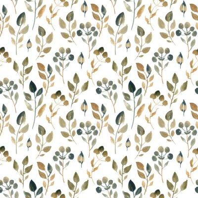 Tapeta Akwarela ilustracja brązowe liście. Bezszwowy wzór wysuszeni liście na białym tle.