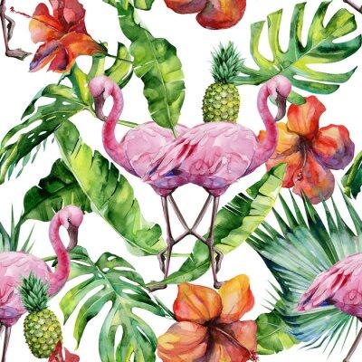 Tapeta Akwarela ilustracji tropikalnych różowy ptak flamingo. Modna grafika z motywem lato tropikalnego. Egzotyczne sztuki na Hawajach. Bez szwu deseń lustra.