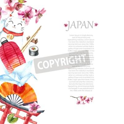 Tapeta Akwarela japoński ramki. Ramki z ręcznie narysować japońskich obiektów Torii brama, ptak origami, flaga Japonii, lacky kot, japońska latarnia i wentylatora, buty geisha, drzewa bonsai, koi ryb i wiśni