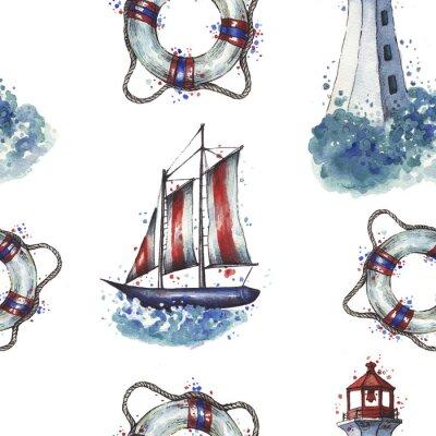 Tapeta Akwarela latarni morskiej wzór