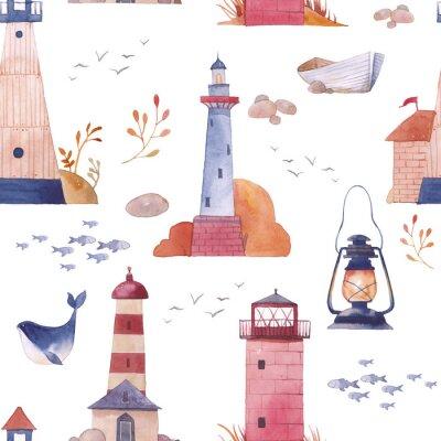 Tapeta Akwarela latarni szwu. Hand wyciągnąć teksturę z obiektami morze kreskówek: łodzi, Seagull, wielorybów, ryb, lampy, kamieni i roślin. Żeglarskie tapety