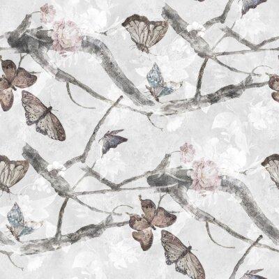 Tapeta Akwarela malarstwa Butterfly i kwiaty, wzorek bez szwu na szarym tle