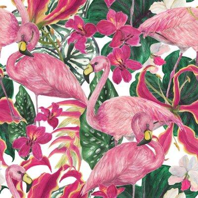 Tapeta Akwarela malarstwo wzór z flamingo ptaków i liści tropikalnych