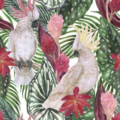 Tapeta Akwarela malarstwo wzór z tropikalny liści, kwiatów i papugi Kakadu