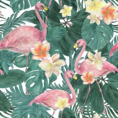 Tapeta Akwarela malarstwo wzór z tropikalnych liści i kwiatów plumeria, ptaki flamingo