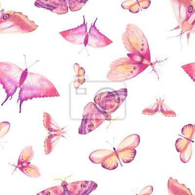 Tapeta Akwarela motyl szwu. Ręcznie rysowane lato tekstury z różnych kolorowych motyli na białym tle. Powtarzanie tapety