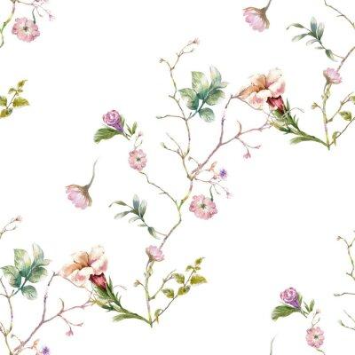 Tapeta Akwarela obraz liść i kwiaty, bezszwowy wzór na białym tle