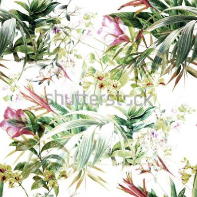 Tapeta Akwarela obraz liść i kwiaty, wzór na białym tle