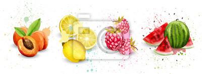 Tapeta Akwarela owoce zestaw wektor. Morelowe, cytrynowe, malinowe, arbuzowe pyszne ilustracje