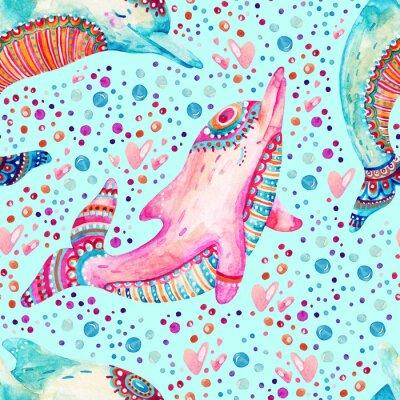 Tapeta Akwarela piękne delfiny bez szwu deseń na tle z pęcherzyków.