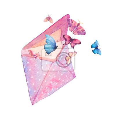 Tapeta Akwarela polka dot Koperta i motyl ilustracji. Ręcznie rysowane rocznika grafiki z izolowanym kopercie i różne latające motyle. Wiosna sztuki raster