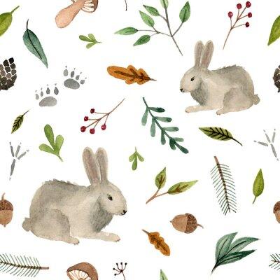Tapeta akwarela ręcznie malowane zwierzęta - królik. zespół lasu wzór na białym tle