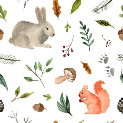 Tapeta akwarela ręcznie malowane zwierzęta - wiewiórka i królik. zespół lasu wzór na białym tle