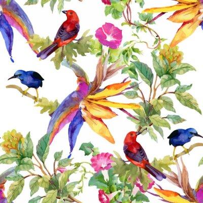 Tapeta Akwarela ręcznie rysowane wzór z piękne kwiaty i kolorowe ptaki na białym tle.