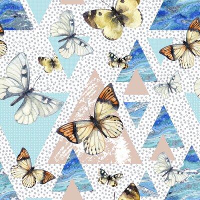 Tapeta Akwarela trójkąty z tekstury motyla i marmuru grunge