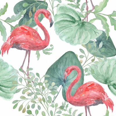 Tapeta Akwarela tropikalny wzór z tropikalnych liści, ptaki Flamingo na białym tle.