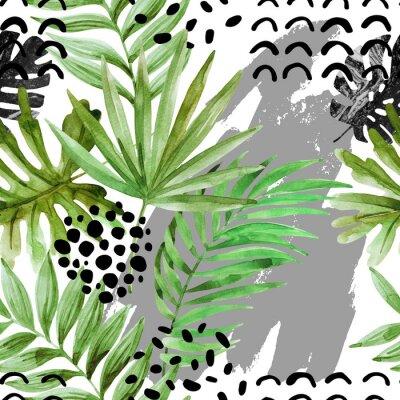 Tapeta Akwarela tropikalnych liści i tusz squiggles tle