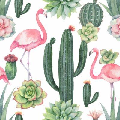 Tapeta Akwarela wektorowy bezszwowy wzór różowy flaming, kaktusy i sukulent rośliny odizolowywający na białym tle ,.
