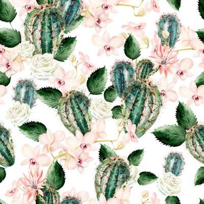 Tapeta Akwarela wzór z kaktusa, róży i storczyków.