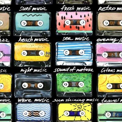 Tapeta akwarela wzór z retro kaset. Ilustracja kasety audio.