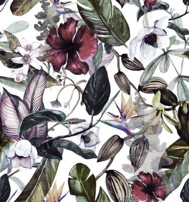 Tapeta Akwarela wzór z tropikalnych kwiatów, magnolii, kwiat pomarańczy, wanilii orchidei, tropikalny liści, liści bananowca