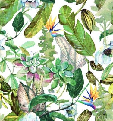 Tapeta Akwarela wzór z tropikalnych kwiatów, magnolii, sukulentyr, wanilii orchidei, liści tropikalnych, liści bananowca