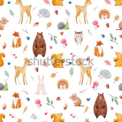 Tapeta Akwarela wzór z uroczych zwierzątek, wzór lasu, tapety dla dzieci. jeleń, wiewiórka, lis, niedźwiedź, sowa, jeż, ślimak, jagody i liście