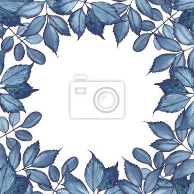 Tapeta Akwarela z liśćmi koloru indygo. Ilustracja na białym tle.