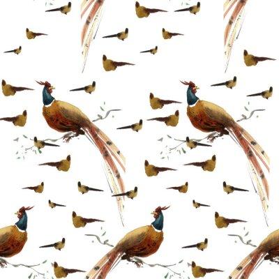 Tapeta Akwarele feasnts i ptaków wzorek bez szwu. Może być stosowany do tkanin, okładek i kreatywnych wzorów